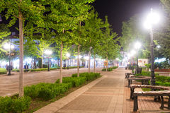 Night walkway old Pomorie in Bulgaria royalty free stock photography
