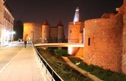 Night Warsaw old defensive walls Royalty Free Stock Photos
