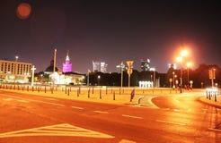 Night Warsaw road traffic Stock Photos