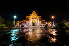 At Night Wat Benchamabophit the beautiful marble temple in Bangk Royalty Free Stock Images