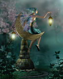 The NIght Watch. A little pixie with a lantern sitting on a moon of stone vector illustration