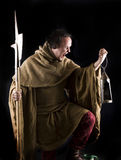 Night watchman. In a medieval suit Royalty Free Stock Images