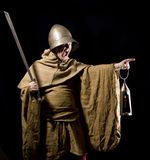 Night watchman. In a medieval suit Stock Photo