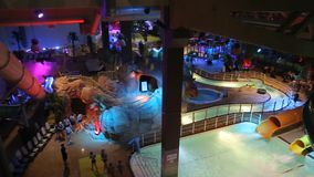 Night water park. Night party stock video footage