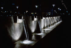 Night waterfalls. With light in Buenos Aires Argentina Royalty Free Stock Photo