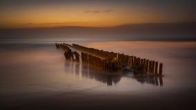 Night, wave breaker in the black sea, Poti,  Georgia Stock Image