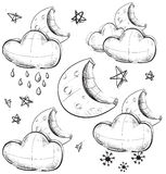 Night weather collection Stock Photos