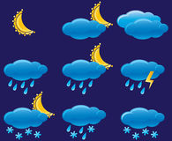 Night weather icons. Vector illustration royalty free illustration