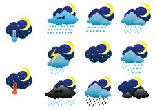 Night weather icons Royalty Free Stock Images
