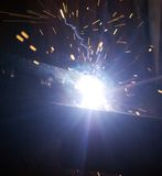Night welding and sparks. Night welding with sparks and smoke Stock Image