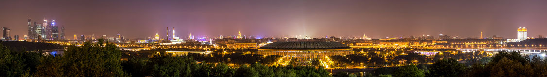 Night wide-angle panorama of Moscow city from Lenin Hills Stock Image