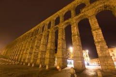 Night wide angle shot of   Roman Aqueduct. Segovia Royalty Free Stock Image