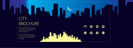 Night wide panorama simple minimalistic city skyline traveling t. Ourist guide book. Brochure, flyer, cover, poster or guidebook template.  modern illustration Stock Image