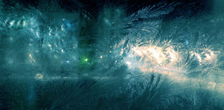 Night window frosting Royalty Free Stock Photos