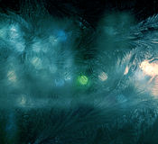 Night window frosting Stock Photography
