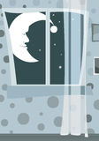 Night window with moonman. Illustration 'Night window with moonman'. Picture illustrates the nighttime window in a dark room with colorful wallpaper in the Royalty Free Stock Image
