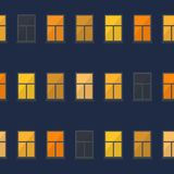 Night window simple seamless pattern. Royalty Free Stock Photo