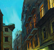 Night windows of Barcelona, painting Stock Image