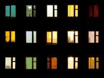 Night windows - block of flats background. Night windows of the old block of flats Stock Photos