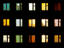 Free Night Windows - Block Of Flats Background Stock Photos - 23480763