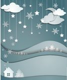 Night winter background of snowflakes trees house stickers Stock Photo