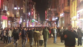 Night, winter Christmas, People crowded, Istanbul istiklal street, December 2016, Turkey. Turkey, December 2016, HD 1080 stock footage