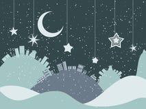 Night Winter City Stock Images