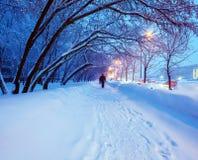 Night Winter City Scene Stock Photography