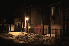 Night winter city streetlights. Night winter city street lights outdoor background Stock Photos