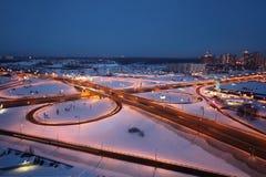 Night winter cityscape with big interchange Stock Photo
