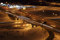 Night winter cityscape with big interchange Royalty Free Stock Photography