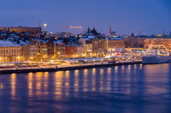 Night winter cityscape of Stockholm, Sweden Stock Photography