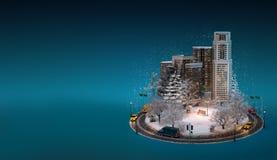 Night winter cityscape Stock Image