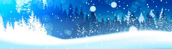 Night In Winter Forest Woodland Landscape Falling Snow Snowy Pine Tree Woods Background Horizontal Banner. Flat Vector Illustration Royalty Free Stock Photo