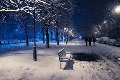 Night winter landscape in the alley with bench of city park stock photos