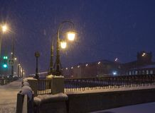 Night winter landscape in amazing city royalty free stock photos