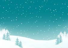 Night winter landscape background with snowy field and fir trees. Christmas and New Year nature scene background. Clean and minimal design Royalty Free Stock Photo