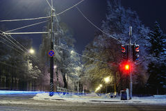 Night winter landscape in the city. Red Royalty Free Stock Image