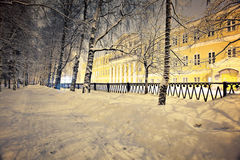 Night winter landscape in the city small Stock Photography