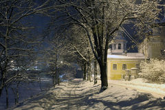 Night winter landscape in the city Stock Photos