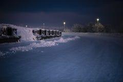 Night winter landscape of Murmansk, Russia. 2017 Stock Image