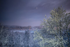 Night winter landscape of Murmansk, Russia Royalty Free Stock Images