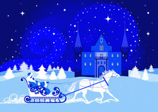 Night winter landscape with a snow queen and castle Royalty Free Stock Photography