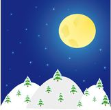 Night winter landscape with  trees and  moon Royalty Free Stock Images