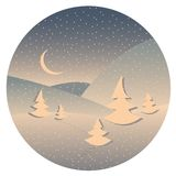 Night winter landscape. Vector night winter landscape with moon and firs Stock Photography