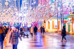 Night winter Moscow in the snow. Nikolskaya street decorated for the Christmas and New year stock image