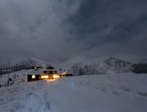 Night winter mountain landscape in full moon moonlight Royalty Free Stock Photography