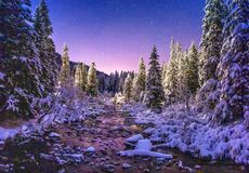 Night winter nature landscape in mountains royalty free stock photos