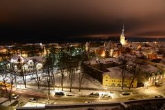 Night winter panorama from Patkuli viewing platform. Tallinn. Estonia. Tallinn is the capital and largest city of Estonia; the Old Town is one of the best royalty free stock image