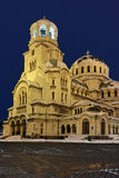 Night winter picture of Alexander Nevsky Cathedral, Sofia Stock Photo